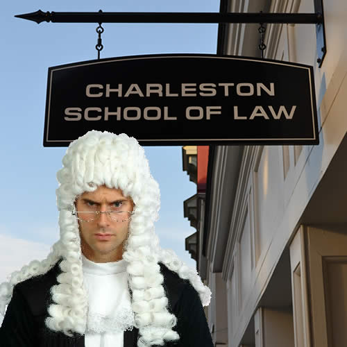 Judge wearing a white wig in front of a sign