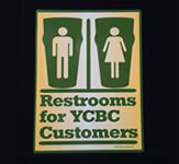 YCBC Restroom Indoor Door Sign