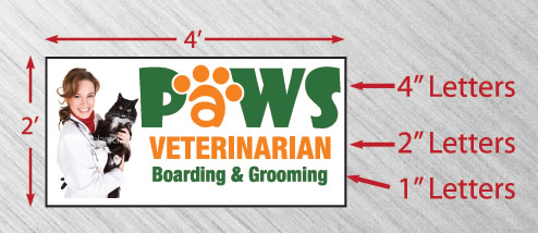 Paws Veterinarian letter and sign sizes