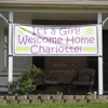 Example of a Welcome Home, Baby Birth Announcement Printed on a Custom Vinyl Banner