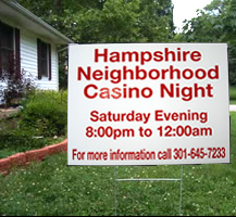 Hampshire Casino Night Yard Sign