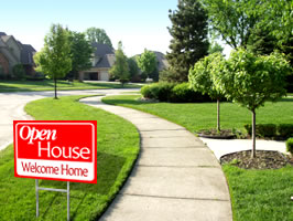 Example of yard sign for open house in neighborhood