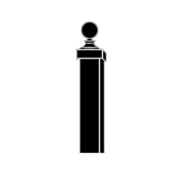 """Square Metal Post 10' x 2"""" x 2"""" square steel post with ball finial"""