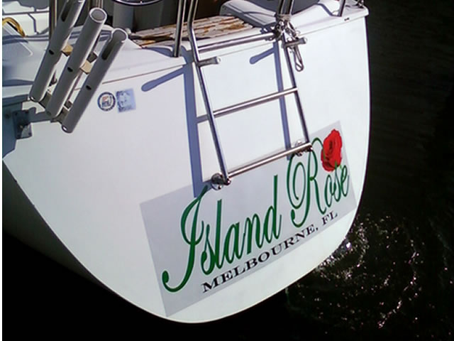 example of custom boat lettering graphics