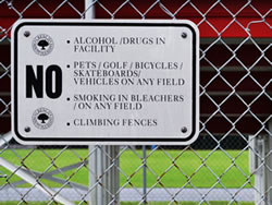 Example of an Aluminum Fence Sign