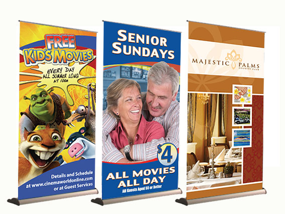three custom vinyl banner signs