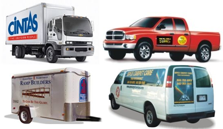 Picture of trucks and vehicle signage