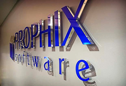 Float mounted clear acrylic sign letters with blue overlay