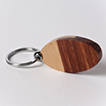 Engraved Oval Keychain - Maple wood