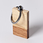 Engraved Rectangle Keychain - Maple Wood