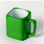 Engraved Square Ceramic Mug (GREEN)- 8oz