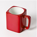 Engraved Square Ceramic Mug (RED) - 8oz