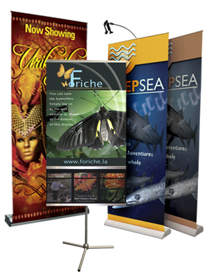 Picture Of Retractable Banner Stands For Vinyl Banner Signs