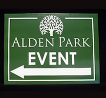Alden Park Event Coroplast Sign