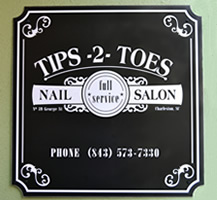 Dibond sign with inset corners for a nail salon