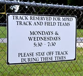 Track Hours Fence Sign
