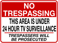 Surveillance sign template for mounting on fence
