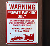 Private Parking Outdoor Wall Sign