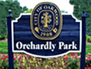 Orchardly Park Entrance sign made of redwood