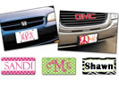 Examples of personalized license plates made with vinyl letters and graphics