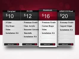Example of price comparison