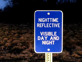 Example of reflective sign
