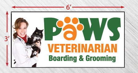 Paws Veterinarian sign sizes