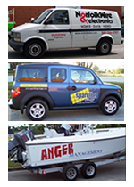 Photos of Boat, SUV, and Van with Custom Lettering