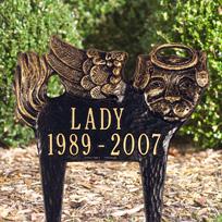 Pet Remembrance / Angel-Dog Cast Metal Lawn Plaque