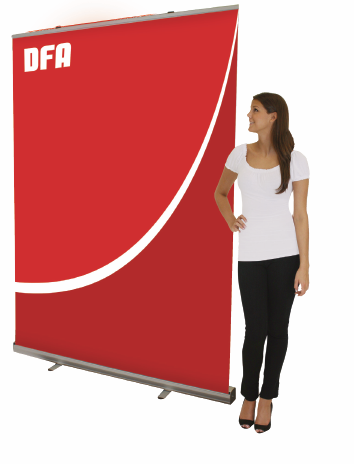 Full Size Retractable Banner beside Model