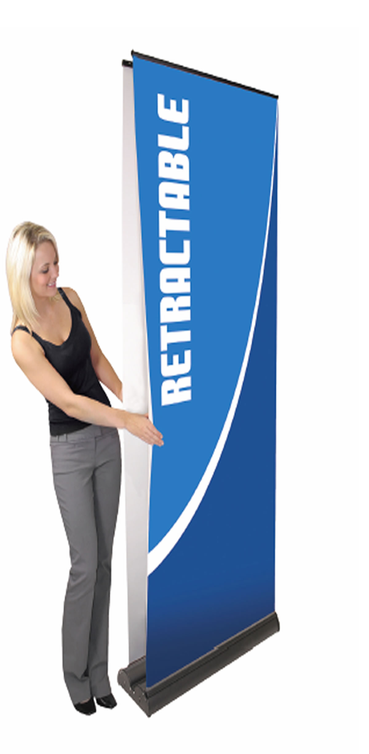 "Double Sided Standard Retractable Banner Stand  39.25"" x 83.25"""