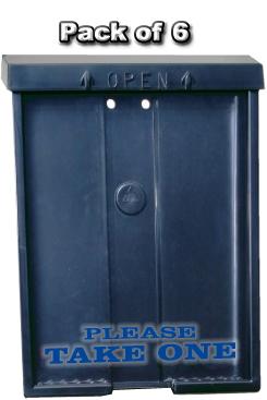 Black Brochure Box w/ Blue Letters