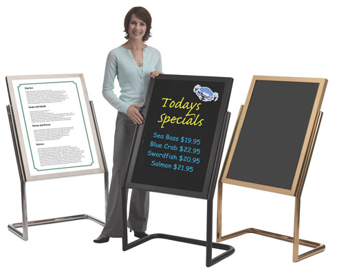 Double Pedestal Menu and Marker Stand