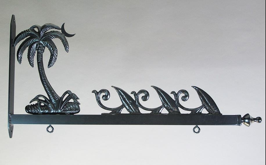 "24"" Aluminum Designer Palm Tree & Wave Sign Bracket"