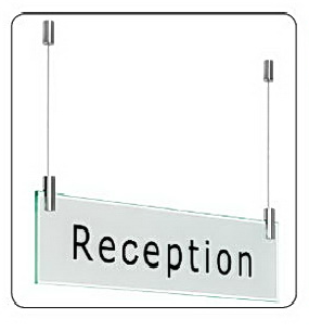 Stainless Steel Ceiling Mounted Sign Kit (One Sign)