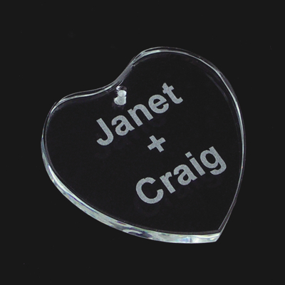 Engraved Crystal Heart Ornament