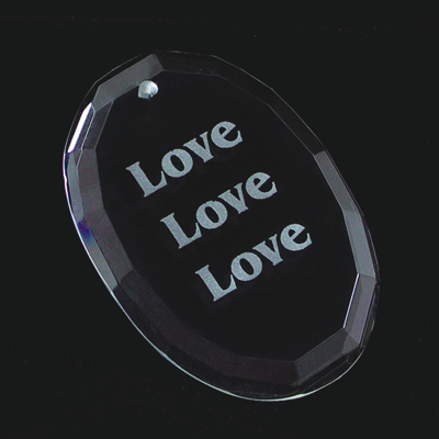 Engraved Crystal Oval Ornament