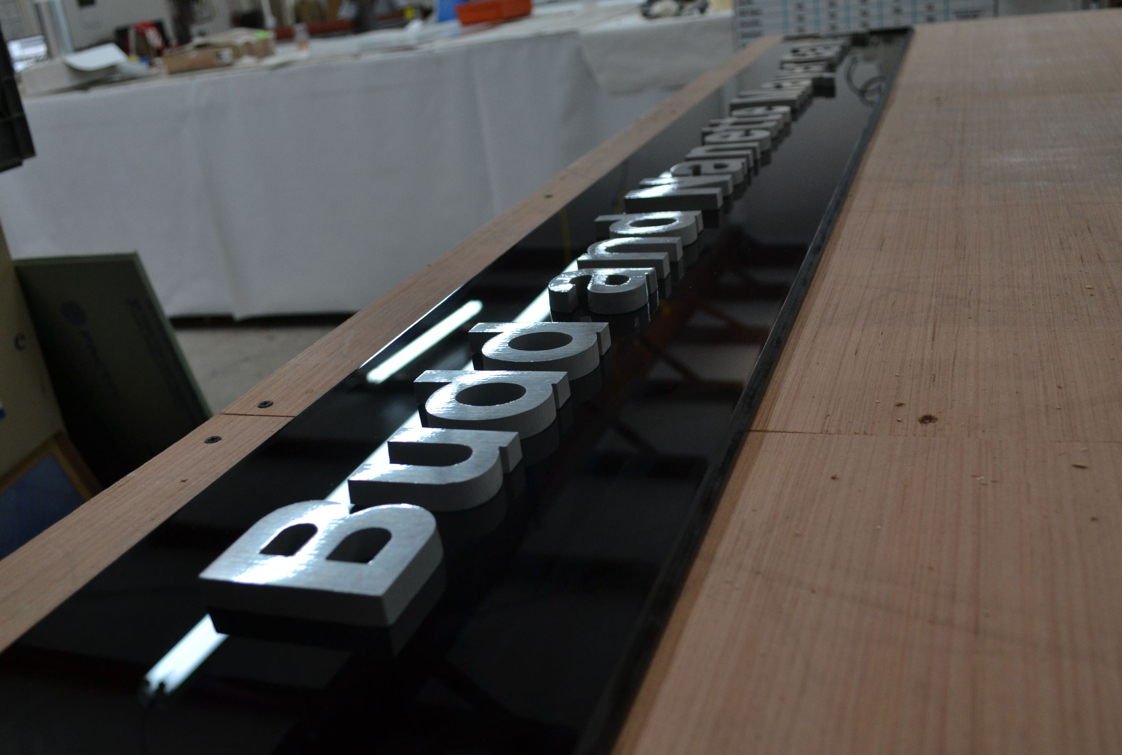 Custom 3-D Letters on Black Acrylic