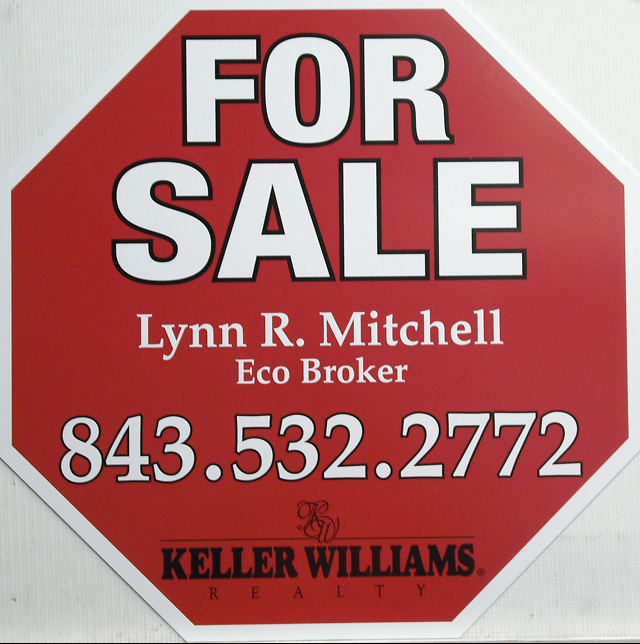 Example of custom cut real estate sign