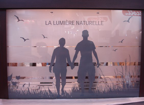 An example of translucent window graphics made with Illumadecor