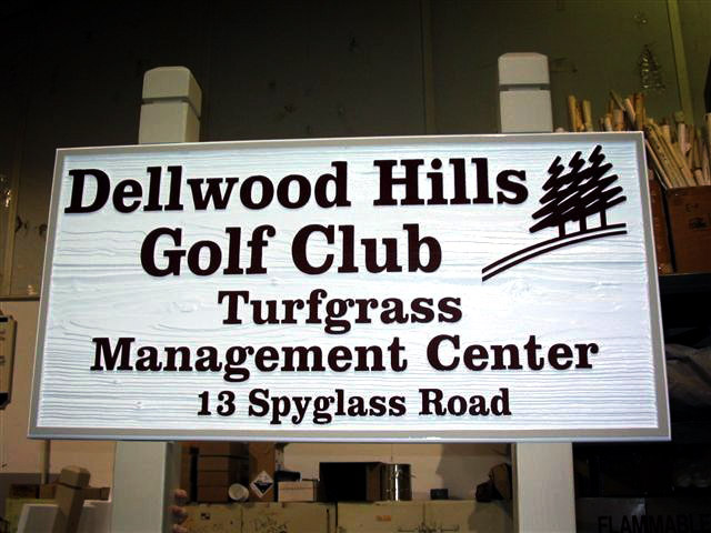 An example of a sandblasted redwood sign