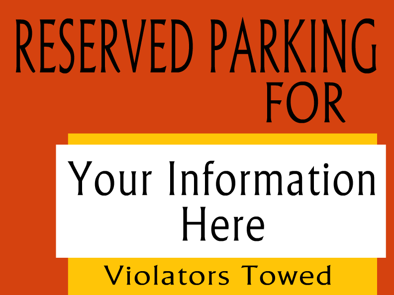 Parking templates for Reserved parking signs template